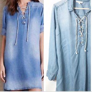 Beachlunchlounge Chambray Denim laceup Shirt Dress